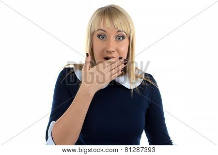 Portrait of surprised business woman