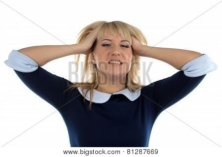 Photo of business woman in stress