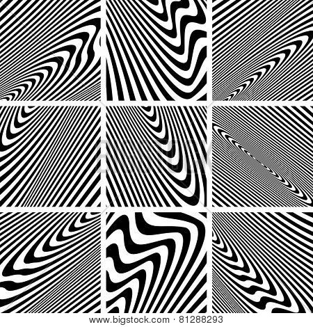 Set of textures in zebra pattern design. Vector art.