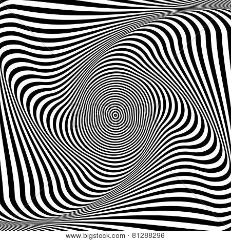 Torsion illusion. Abstract op art background. Vector art.