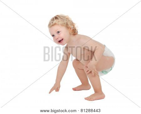 Adorable blond baby with two years in diaper isolated on white background
