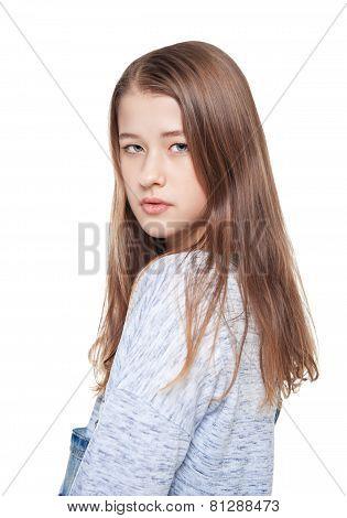 Young Beautiful Teenager Girl Isolated