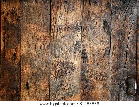 Old Wooden Door With Hardware Elements