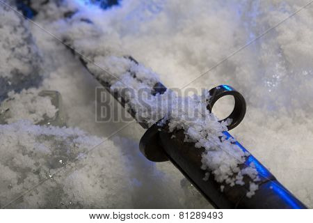 Frozen bayonet in studio
