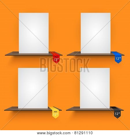 Book shelves with lables on orange background.