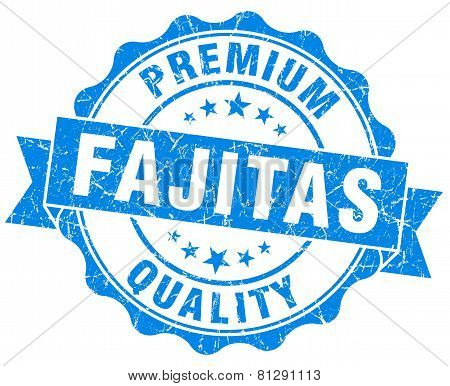 Fajitas Blue Grunge Seal Isolated On White