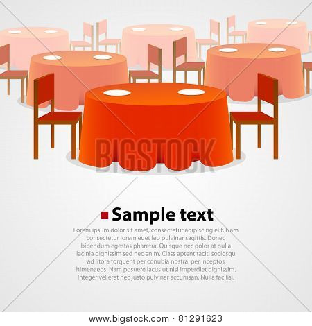 Many round tables with tablecloth and two chairs