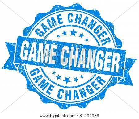 Game Changer Blue Grunge Seal Isolated On White