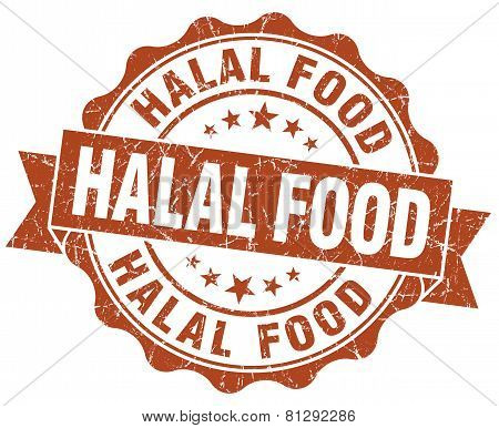 Halal Food Brown Grunge Seal Isolated On White