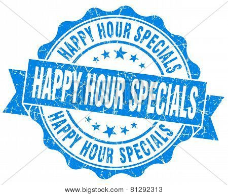Happy Hour Specials Blue Grunge Seal Isolated On White