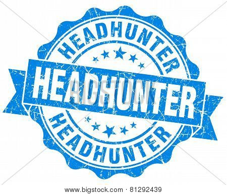 Headhunter Blue Grunge Seal Isolated On White