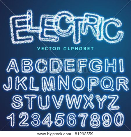 Vector electric alphabet, modern text effect