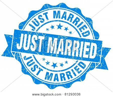 Just Married Blue Grunge Seal Isolated On White