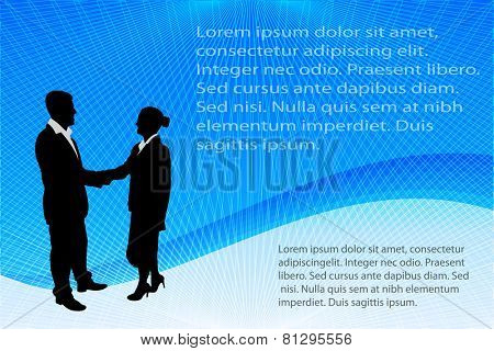 business people silhouettes on the abstract background