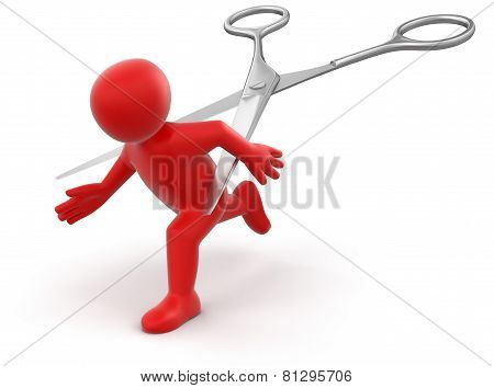Man and Scissors (clipping path included)