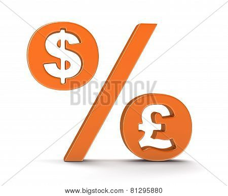 Percentage Sign with dollar and pound (clipping path included)