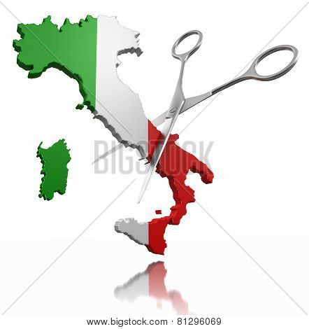 Scissors and Italy (clipping path included)