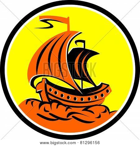 Sailing Galleon Ship Circle Retro