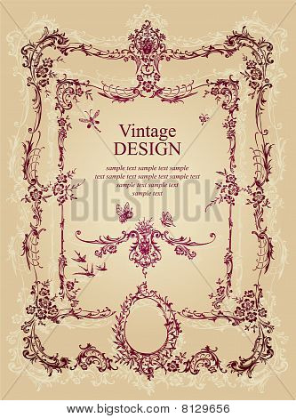 antique frame background (vector)