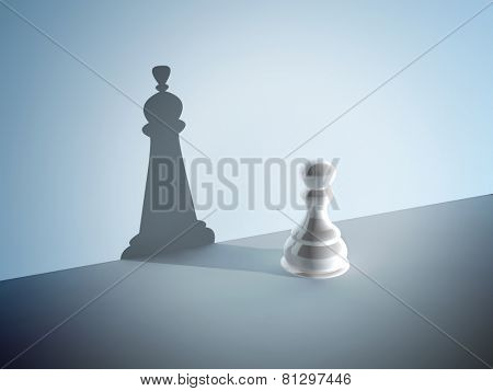 Chess pawn with the shadow of a queen. On blue background