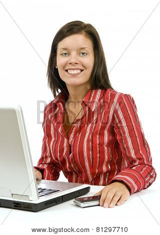 Beautiful Confident Young Business Woman At Computer