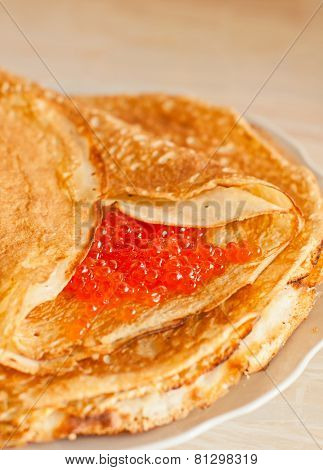 Pancake With Red Caviar