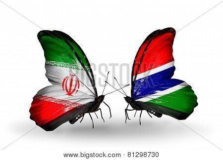 Two Butterflies With Flags On Wings As Symbol Of Relations Iran And Gambia