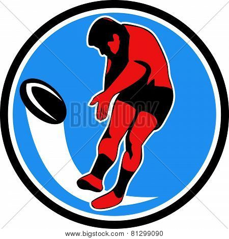 Rugby Player Kicking Ball Circle Retro