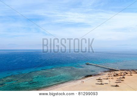 Top View Of The Gulf Of Aqaba And Coral Reefs
