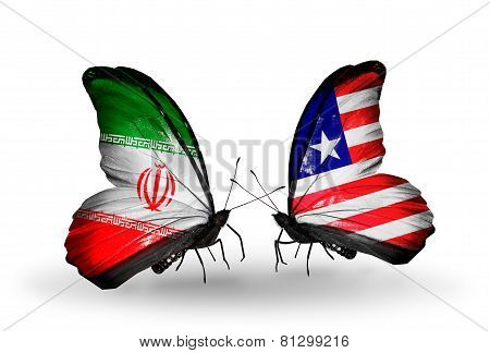 Two Butterflies With Flags On Wings As Symbol Of Relations Iran And Liberia