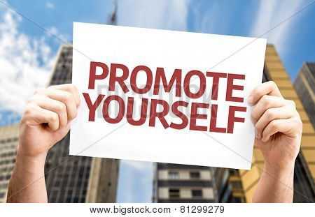 Promote Yourself card with a urban background