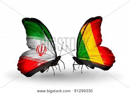 Two Butterflies With Flags On Wings As Symbol Of Relations Iran And Mali
