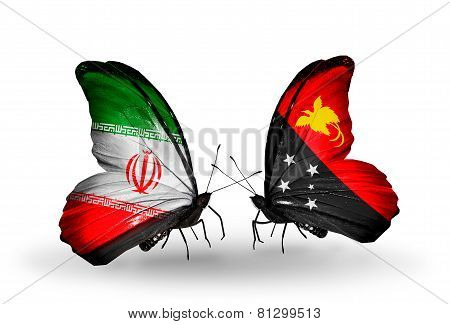 Two Butterflies With Flags On Wings As Symbol Of Relations Iran And Papua New Guinea