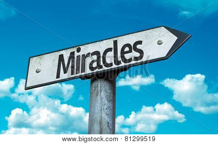 Miracles sign with sky background