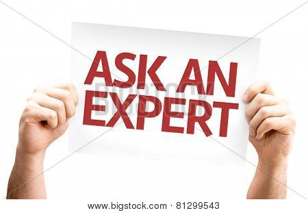 Ask an Expert card isolated on white background