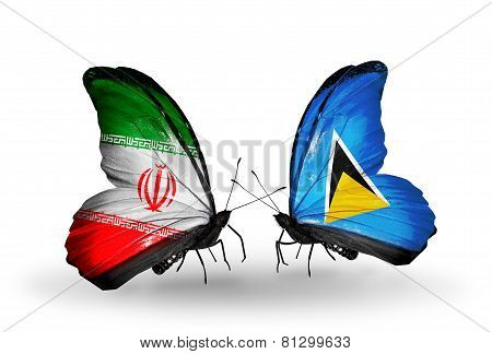 Two Butterflies With Flags On Wings As Symbol Of Relations Iran And Saint Lucia