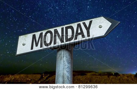 Monday sign with a beautiful night background