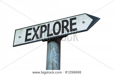 Explore sign isolated on white background
