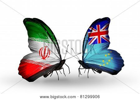 Two Butterflies With Flags On Wings As Symbol Of Relations Iran And Tuvalu