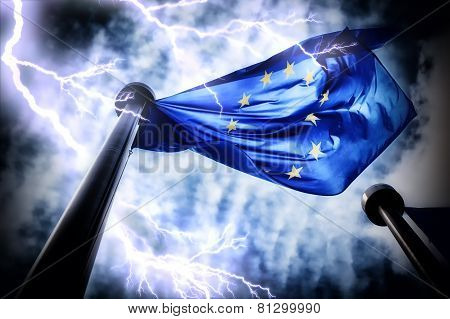European Union Flag On Dark Thunderstorm Sky Background