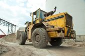 stock photo of engineering construction  - Bulldozer on sand - JPG