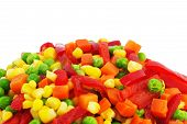 stock photo of frozen food  - Closeup of colorful Frozen Mixed Vegetables - JPG