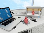 stock photo of workstation  - 3d printing human body - JPG