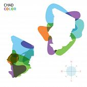 picture of chad  - Abstract vector color map of Chad with transparent paint effect - JPG