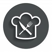 picture of chef knife  - Chef hat sign icon - JPG