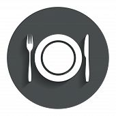 picture of knife  - Plate dish with fork and knife - JPG