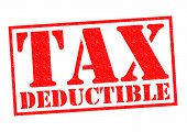 pic of crunch  - TAX DEDUCTIBLE red Rubber Stamp over a white background - JPG