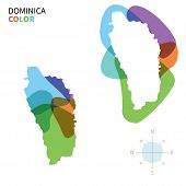 Постер, плакат: Abstract vector color map of Dominica with transparent paint effect