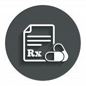stock photo of prescription  - Medical prescription Rx sign icon - JPG