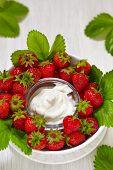 pic of dipping  - Fresh strawberries with vanilla cream cheese dip - JPG
